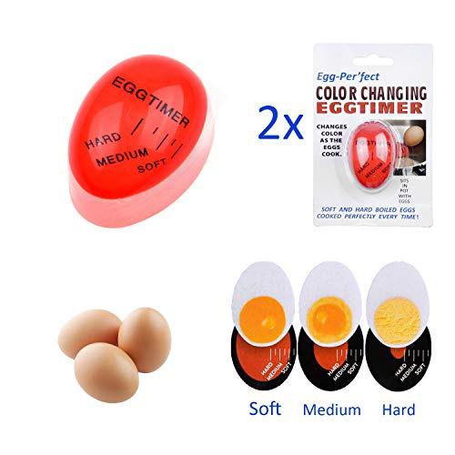 Kare & Kind Timer Uova Confezione da 2 - Indicatore Cambia Colore - Uova alla Coque, Uova a Cottura Media e Uova Sode - Aiuto da Cucina Sicuro e Duraturo - Regalo e Uso Casalingo