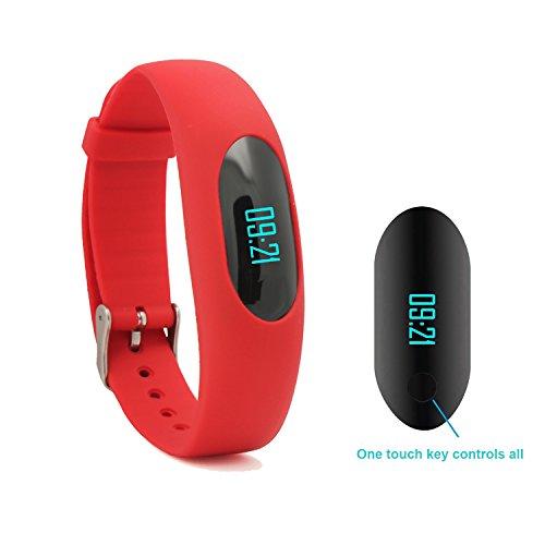 eigensinnige Bluetooth Schrittzähler Fitness Tracker Armband mit Kalorienzähler zu Fuß Schritt Zähler Sleep Monitor Uhrzeit/Datum Anzeige für Outdoor Laufen Aktualisierte Version