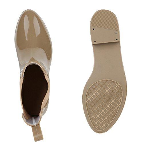 Damen Stiefeletten   Chelsea Boots   Gummistiefeletten Lack   Gummistiefel Regenschuhe Beige