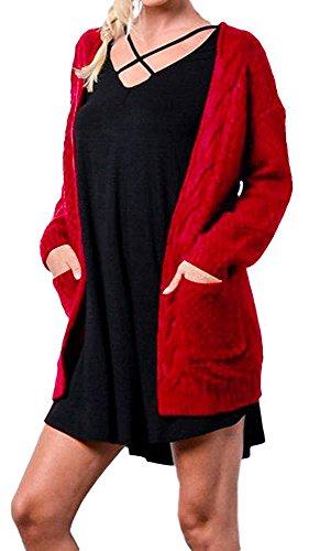 YuanYan - Poncho - Maniche lunghe  -  donna Rosso