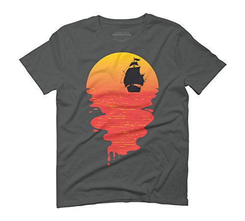 Sunset and the pirate ship Men's Graphic T-Shirt - Design By Humans Anthracite