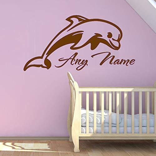 zqyjhkou Schöne Delphin Tiere Wandaufkleber Personalisierte Jeder Name Vinyl Baby Kindergarten Wandaufkleber Abnehmbare Schlafzimmer Kunst Aufkleber 9 60X30 cm