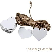 LAAT 100pcs Etiquetas de papel de corazón Kraft para tarjetas de regalo de boda Etiqueta de regalo(no incluye cordón)