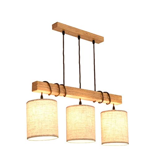 YSJ LTD Restaurant Lampe DREI Kronleuchter nordischen Holz Persönlichkeit kreative Tabelle Esszimmer führte Beleuchtung einfache Moderne Holzlampe -