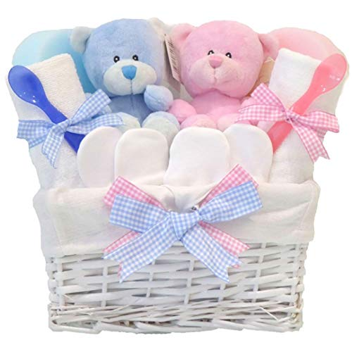5d3303c9210b Angel Baby Boy and Girl Twins Gift Basket Hamper ⼁New Born Baby Shower Gifts  Sets Ideas Twin Girls Boys Hampers⼁ Presents Newborn Twins Gifts ⼁ FAST ...