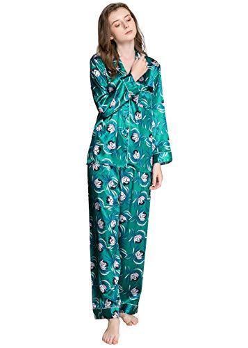Classic Satin Pyjama Set (LONXU Damen Satin Pyjama Set Classic Green Medium)