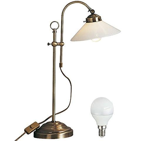 Hochwertige Schreib Tisch Lese Lampe Landhaus Stil Messing Glas Leuchte im Set inklusive LED Leuchtmittel