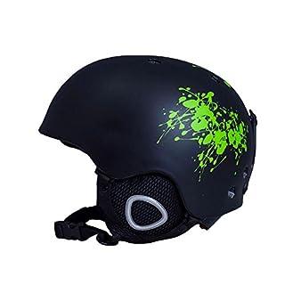 Asdomo Helm für Schneesport, zum Skifahren und Snowboarden, leicht, verstellbar, für Herren, Damen und Jugendliche, schwarz / grün, M