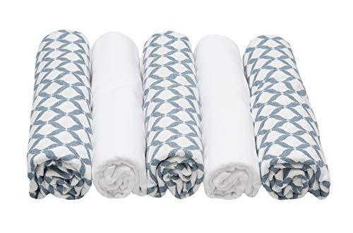 Spucktücher, Stoffwindeln, Mullwindeln PREMIUM - (5er Set) 70x80 cm, Öko-Tex Standard 100, 100% naturreine Baumwolle, blau
