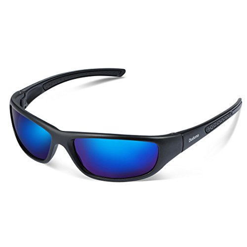 Duduma Tr8116 Polarised Sports Sunglasses for Mens and Womens Design for Ski Baseball Golf Cycling Fishing Running Driving Superlight Frame (black matte frame with blue lens)