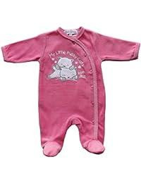 Prends ton pouce - Mignonne grenouillère bébé en velours Fushia.