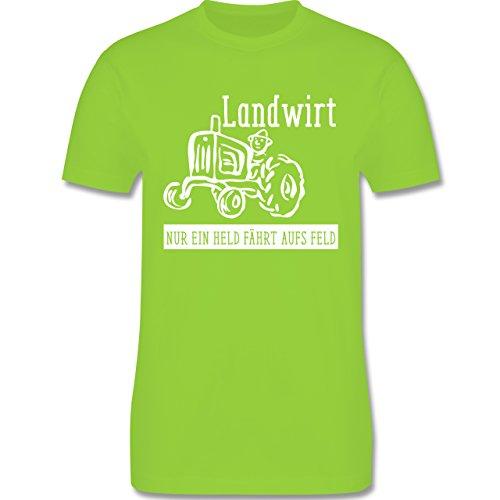Landwirt - Nur ein Held geht aufs Feld - Herren Premium T-Shirt Hellgrün