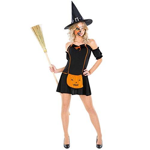 TecTake dressforfun Sexy Frauenkostüm Pumpkin Witch Kostüm Kleid mit aufgenähtem Kürbis inkl. sptizem Hut (XL | Nr. 300132)