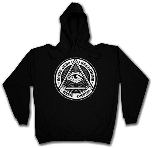 "ILLUMINATI EYE ""J"" HOODED SWEAT SWEATSHIRT HOODIE PULLOVER SWEATER – Society Auge Free Masons Lodge Illumiatus Größen S – 5XL"
