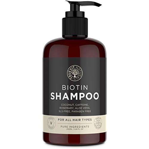 Biotin Shampoo with added Coconut Oil, Aloe Vera, Rosemary Oil Extract and Caffeine for Hair Growth - 250ML - Vegan Shampoo - Paraben Free & SLS Free