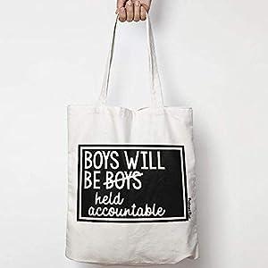 BOYS WILL BE BOYS/HELD ACCOUNTABLE leinentasche aus natürlicher baumwolle WAHL VON ZWEI FARBEN for activism, feminism