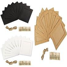 30 piezas de bricolaje decoracion de pared con marco de Fotos de papel kraft mini pinzas y yute cuerda - insertar el papel titular de imagen para colgar ...