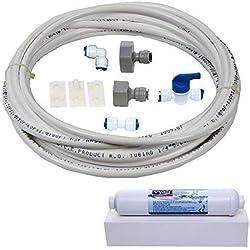 Filtre à eau DA97-01469D kit d'installation et connexion, Samsung réfrigérateur américain & distributeur de glace et d'eau (WSF-100 cartouche compatible,10 metres de 1/10,2 cm/6,4 mm tube de diamètre)