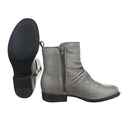 Komfort Stiefeletten Leder Damenschuhe Schlupfstiefel Blockabsatz Blockabsatz Reißverschluss Ital-Design Stiefeletten Grau