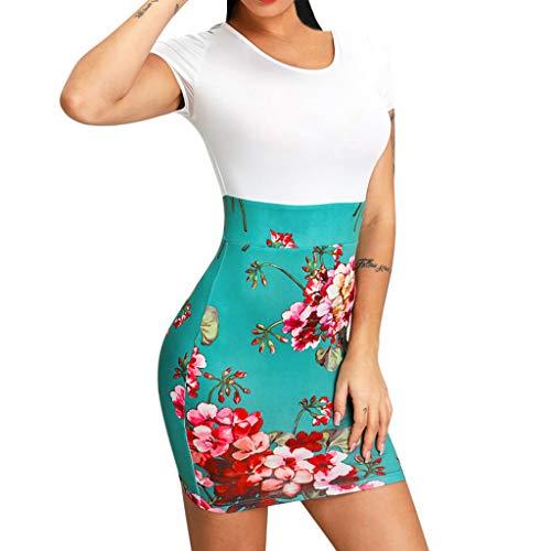 Mounter-Tops Damen Sexy figurbetontes Kleid, V-Ausschnitt, Vintage-Blumenmuster, Kurze Ärmel, Slim Fit, Clubwear, Urlaub, Abendparty, formelles kurzes, formelles Minikleid, weiß, ()