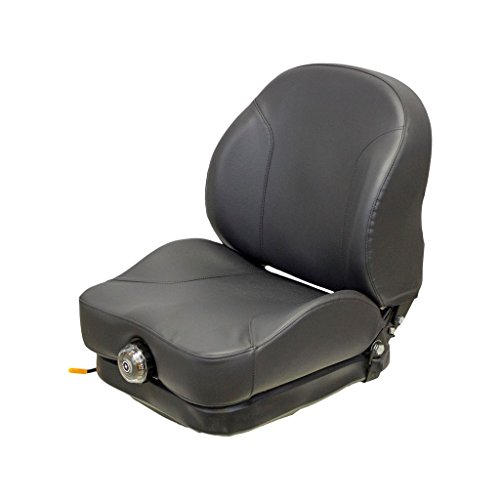 58,8cm hoch schwarz Vinyl-Sitz und mechanische Aufhängung mit Feste Rückenlehne, Slide Rails