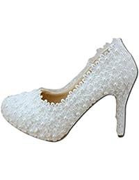 Zapatos de Novia - Flores de Encaje Elegante Zapatos de Boda Blanco de tacón  Alto Zapatos b9f3e4e40c0