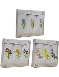 3 packs de 3 Womens/dames blanches mouchoirs de coton avec broderie florale mixte & frontières Satin, dans une boîte cadeau