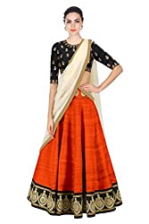 New Latest Designer Party wear Orange and Black Color Bridal Look Heavy Embroidred Banglori silk New Fashionable Lehngha For Women and Girl