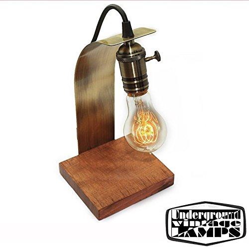 Lampe de table artisanale Virgule E27 Bronze et bois