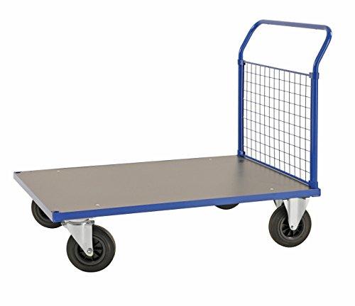 Schwerlast 500 Kg Gewicht (Plattformwagen | Transportwagen aus Stahl mit 1 Gitterwand an Stirnseite - 500 kg Tragkraft, 1000 x 700 mm, Industrie-wagen / Gitter-wagen mit Seitenwänden und Vollgummi-Reifen)