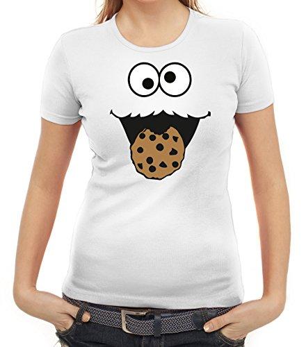 Karneval Fasching Verkleidung Damen T-Shirt Gruppen & Paar Kostüm Blaues Monster Premium, Größe: M,Weiß
