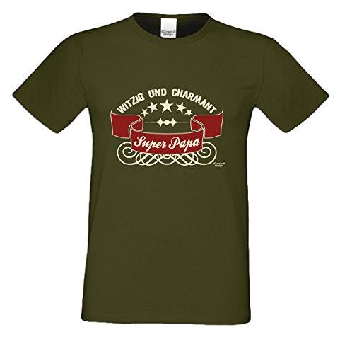 Geschenk-Set :: Super - Papa Herren T-Shirt inkl. Urkunde - Geschenkidee als Geburtstagsgeschenk Weihnachtsgeschenk Vatertagsgeschenk Farbe: khaki Khaki