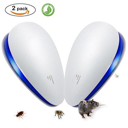 Ultraschall Schädlingsbekämpfer, SENQIAO Elektronisches Insektenschutzmittel, Schutz in Innenräumen gegen Schädlinge wie Kakerlaken, Mäuse, Fliegen, Mücken, Ameisen, Spinnen, Flöhe, etc. (2 Stücke)