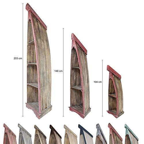 Badregal Bootsregal Boot Regal Bücherregal Bücherschrank Standregal Aufbewahrung 148 cm Albesia Holz Braun Rot -