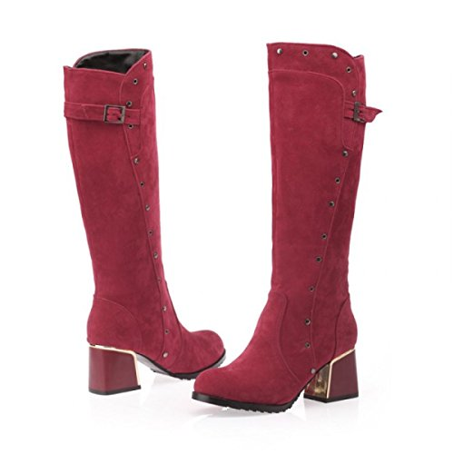 Europa E Stati Uniti Moda Scarpe Da Donna Stivali Alti Scarponi Da Cavalieri Ruvidi Scarpe Scarpe Di Cuoio Red