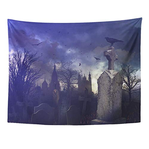 Monicago Wandteppiche, Wall Tapestry, Tapestry Wall Hanging, Tree Halloween Night Scene in Spooky Graveyard Cemetery Scary 60