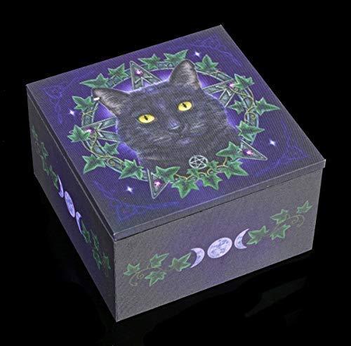 Lisa Parker Fantasy Spiegel Schatulle mit Katze - The Charmed One | Schmuckkästchen aus Holz und Stoff, Motiv by