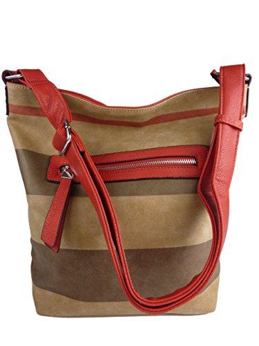 Shopper ELLEN Damen Shoppertasche gestreift 35x32x13 TH-2035 (schwarz mehrfarbig) rot mehrfarbig