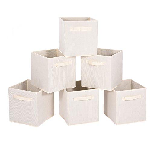 MaidMAX 6er-Set Faltbox aus Stoff, Faltbare Aufbewahrungsbox für Regal, Organizer Aufbewahrungskiste für Kleidung, Bücher, Ordnungssystem für Wohnzimmer, Beige 26,7 x 26,7 x 27,9 cm