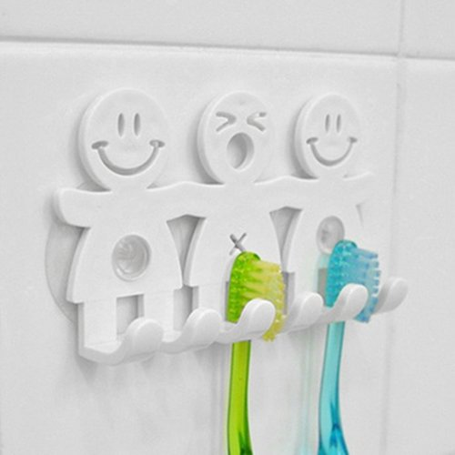 dontdo Smile Face Zahnbürstenhalter Bad Küche Handtuchhalter Wand Saugnapf Ständer umweltfreundlich Multi