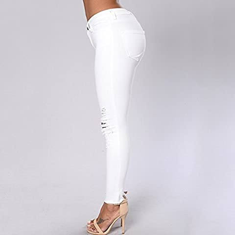 FF&CAI Distressed Denim bianco donna Jeans Stretch distruggere Skinny strappati pantaloni , white , xl
