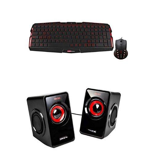 Mars Gaming MCP0 - Pack de teclado y ratón gaming + MS1 - Altavoces gaming para PC