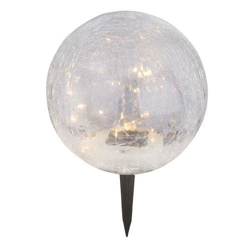 Glas Kugel Leuchte (LED Solar Lampe Garten Außen Steck Leuchte Glas Kugel Design Erdspieß Beleuchtung Weg Globo 33304)