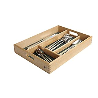 CUTLERY TRAY IN FSC BEECH WITH GREEN LINING Size Length 34.2  x Width 24.2  x Height 5 cm