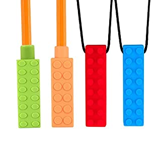 Dsaren Silicone Teething Necklace Sensory Chew Necklace Teething Toy for Babies Autism ADHD ADD Oral Motor Anxiety Autistic Children Special Needs 4 Pack