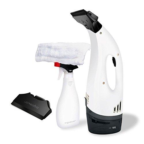 Aigostar Penguin 30DFV – 12W Aspirador limpiacristales especialmente diseñado para limpiar ventanas. Inalámbrico, incluye vaporizador, boquilla con paño de microfibra y aspiradoras intercambiables