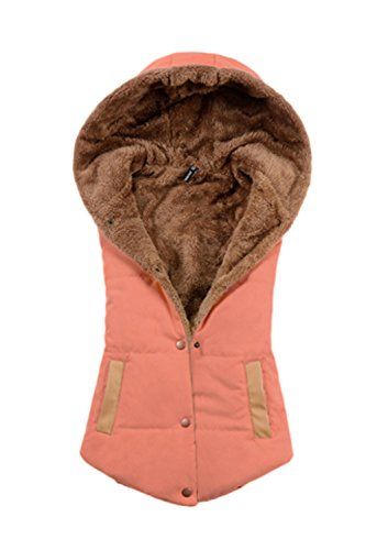 La Femme Est Élégant Pull Sans Manches Épais Manteau De Veste Matelassée Boutons D'uniforme Orange