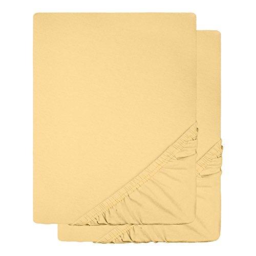 Spannbettlaken 2er-Set Jersey Baumwolle | viele Farben alle Größen | Spannbetttuch Doppelpack für Standardmatratzen | 90 x 200 bis 100 x 200 cm CelinaTex 0003410 Lucina creme-gelb