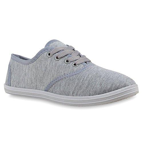 Sportliche Damen Herren Sneakers | Unisex Basic Freizeit Schuhe | Schnürer Stoffschuhe | Prints viele Farben Grau