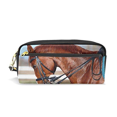 ahomy Federmäppchen Pferd Kopf Studenten Pen Tasche groß Kapazität Kosmetik Make-up Brieftasche Tasche für Damen